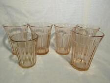 "5 Fortune Pink Depression Glass 4"" Flat Tumblers, 1 Juice Glass Anchor Hocking"