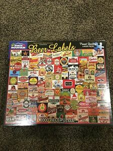 White Mountain Beer Labels 1000 Piece Jigsaw Puzzle 24x30 New And Unopened