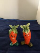 Vintage Anthropomorphic Carrot Salt and Pepper Shakers Ceramic 53