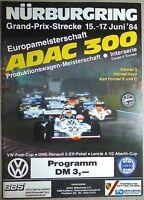 15 17. Juin 84 ADAC 300 Produktionswagen Nürburgring Brochure de Programme Ii03