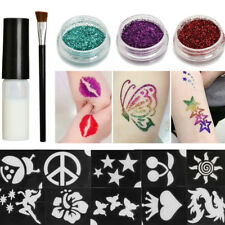 Body Art Temporary Tattoos Glitter Powders Stencils Brush Glue Tool Shimmer Kit