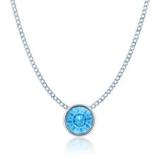 Small Pendant Necklace w Blue Aquamarine Round Crystals from Swarovski Rhodium