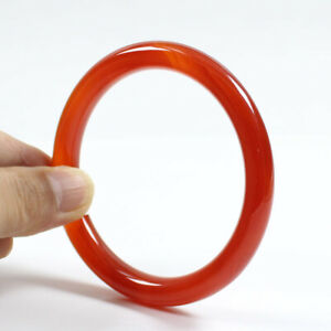 69mm Certified Natural Agate Chalcedony Red Jade Bracelet Bangle j3317