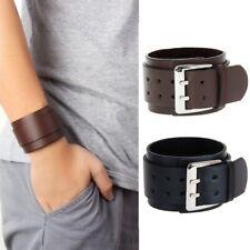 2 Color Cool Adjustable Men's Leather Wide Wristband Buckle Cuff Bangle Bracelet