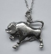 Chain Necklace Pewter ZODIAC #1534 TAURUS (Apr 20 - May 20) 26mm x 27mm