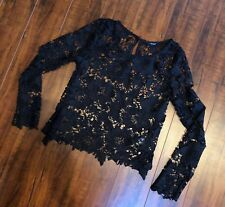 Vtg Vintage 90's sz S Black Sheer Long Embroidered Lace Scallop Shirt Top