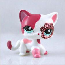 Littlest Pet Shop Collection LPS White Pink Standing Cat Sparkle Glitter K1
