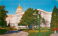 Chrome Postcard CA State Capitol Building Sacramento Street View People F534