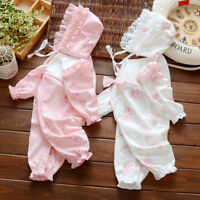 Newborn baby infant girls cotton bodysuit &hat outfits jumpers baby shower gift