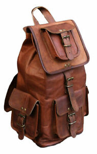 Leather Backpack Men Bag S Shoulder Laptop Travel Rucksack Mens School New