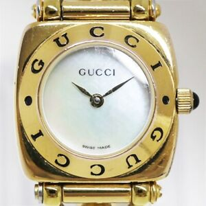 Gucci SS Stainless Steel Ladies Dress Watch 6400L Horsebit Shell Dial