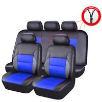 CAR PASS 11PCS Blue Color Sandwich Leather Car Seat Cover for 40/60 60/40 50/50