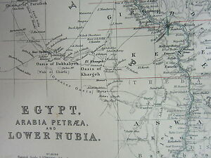 1910 MAP ~ EGYPT ARABIA PETRAEA LOWER NUBIA BAHAIRA NILE DELTA CAIRO