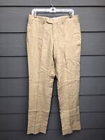 Zara Man Beige 100% Linen Pleated Work Trousers Size 34 x 34