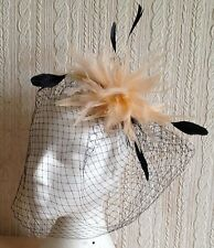 coral peach feather fascinator black french veiling veil hair clip brooch