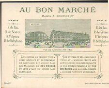 PARIS MAGASIN AU BON MARCHE BOUCICAUT CARTON PUBLICITE
