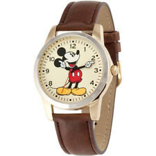 Disney Unisex Mickey Mouse Oversized Molded-Hands Brown Watch, Simulated-Leather