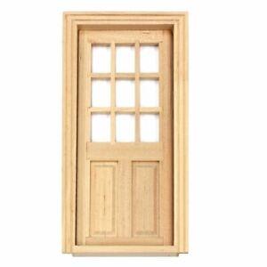 Dolls House Miniature 9 Panel Glazed Wood Door   112th Scale