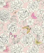 Holden Primrose Dusty Pink Lime Butterflies Floral Feature Wallpaper 98832