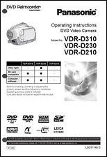 Panasonic DVD Palmcorder Camera VDR-D210  VDR-D230 VDR-D310 Operation User Guide
