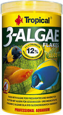 Tropical 3-Algae Flakes 1000 ML Fish Food Spirulina Cichlids Mbunas