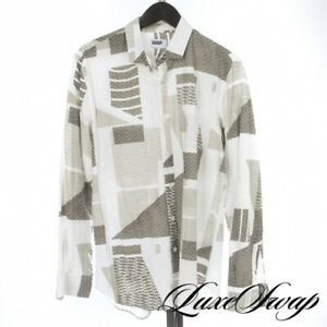 Ddugoff Made in USA Pearl Grey White Chevron Geometric Print Button Down Shirt L