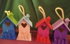 Hand painted Wooden Heart Birdhouses Brand New
