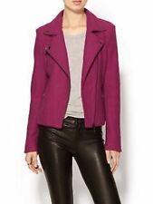 Line Knitwear Wool Moto Jacket Magenta Zip Pockets Sleeve Detail Lined *Est Sz M