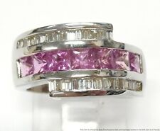 New Princess Cut Pink Sapphire 14k Ring 0.50ctw Diamond 9gr White Gold Band Sz6