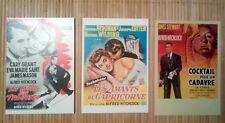 3 cartes postales cinéma Hitchcock La mort aux trousses Les amants du capricorne
