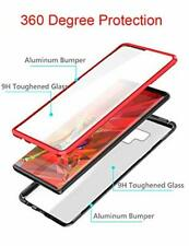 Samsung Galaxy Note 10 Plus Clear Case Aluminum Bumper Magnetic Metal Cover Red