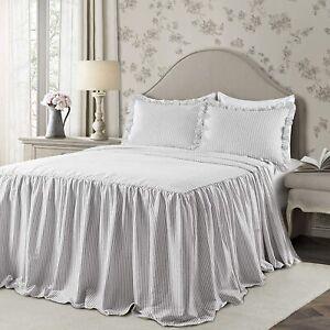 Lush Decor Ruffle Skirt Bedspread White Shabby Chic Farmhouse Style Lightweight