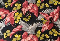 True Vintage Miami Beach Deco Tropical Print Barkcloth Yardage Black Background