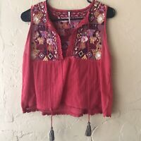 Free People Lohri Red Embroidered Boho Blouse Tank Top Short Sleeve Size XSP