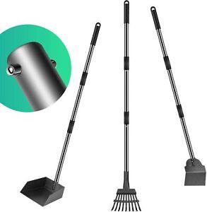 """Pet Pooper Scooper Tray Rake Spade 3 Pack Stainless Steel Adjustable Handle 38"""""""