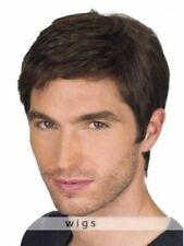 100% Human Hair!Men's Dark Brown Short Natural Straight Wig Toupee