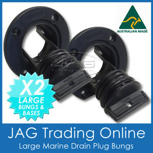 2 x AQUATRACK LARGE BLACK COMPLETE DRAIN BUNG PLUGS & BASES - BOAT BUNGS COARSE