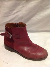Girls Zara Maroon Leather Boots Size 32