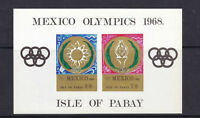 ISLE OF PABAY 1968 MEXICO OLYMPICS 10/- IMPERFORATE MINIATURE SHEET MNH