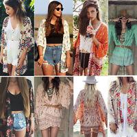Women Printed Chiffon Kimono Cardigan Shawl Top Beach Bikini Cover Up Blouse Lot