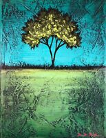 "12""x16"" Original Art Mixed Media Textured Tree Painting By Derek Patterson"