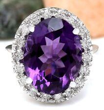9.30 Carat Natural Amethyst 14K Solid White Gold Diamond Ring