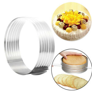 16-30cm Adjustable Round Stainless Steel Cake Ring Mold Layer Slicer Cutter W8