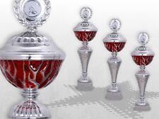 3er Pokalserie Pokale RED STARLIGHT mit Gravur günstige Pokale silber / rot