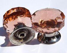Rosa Salmone maniglie grande taglio vetro (coppia) base cromata stile vintage mortasa