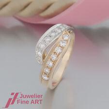 feiner Brillant-Ring mit 14 Brillanten ges. ca. 0,60ct 18K/750 Gelbgold-Weißgold
