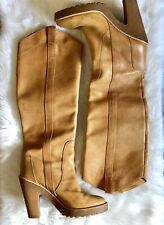 Marc by marc jacobs Leather Tall Boots Rubber Heel Mustard Brown