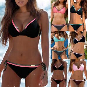 Dame Push Up Bikini Sets BH Gepolstert Badeanzug Bademode Strand Swimwear Neu