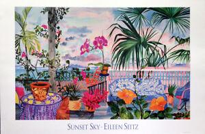 Tropics, sunset, veranda, gingerbread, Eileen Seitz - Sunset Sky - Art