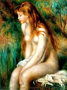 "Nude Bather 8.5x11"" Photo Print Pierre Auguste Renoir Impressionism Naked Woman"